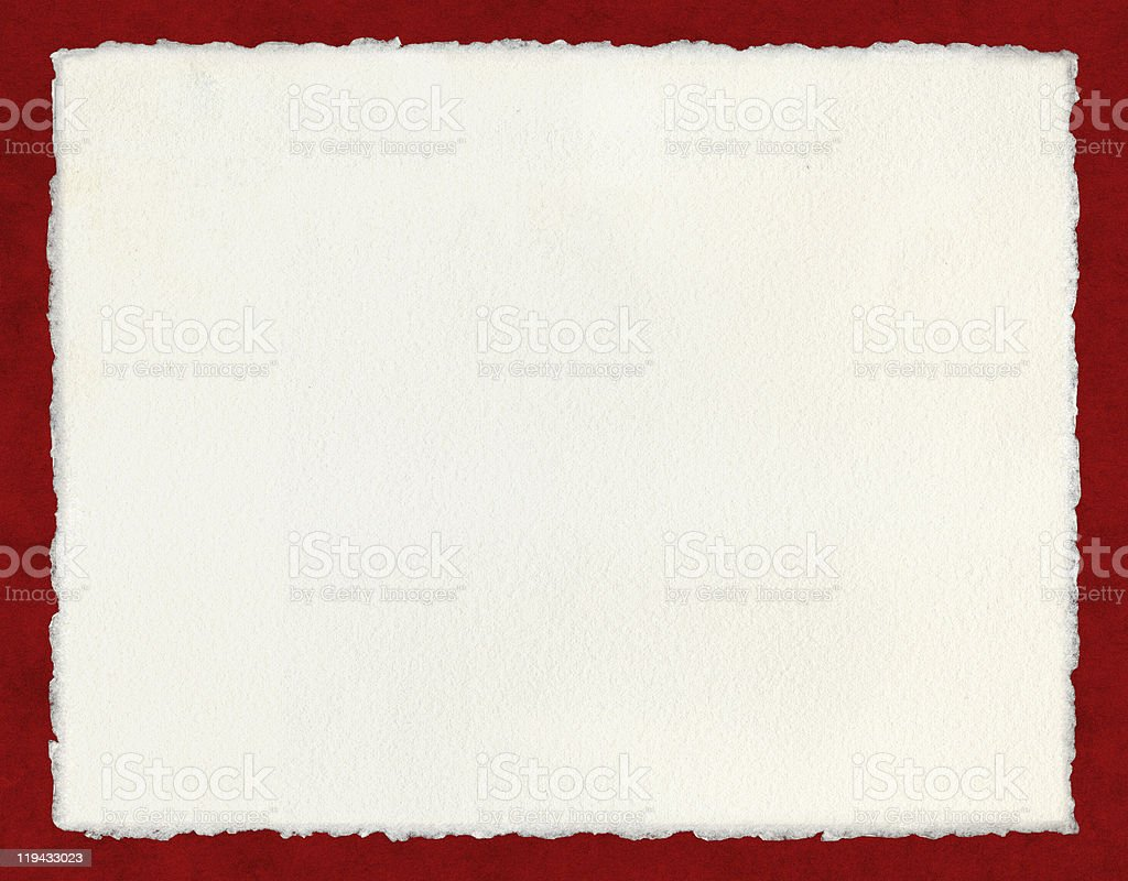 Deckled Paper on Red stock photo
