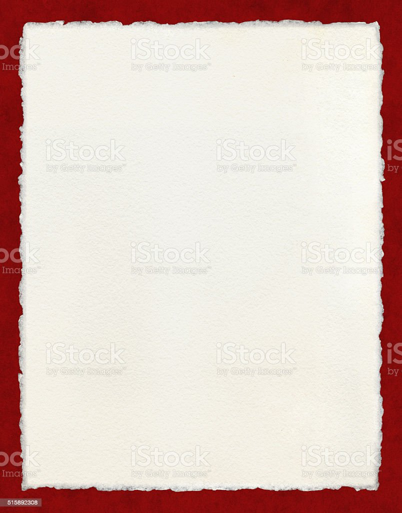 Deckled Paper with Red Border stock photo