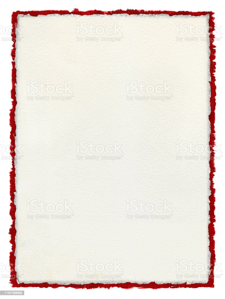 Deckled Paper with tattered red border. stock photo