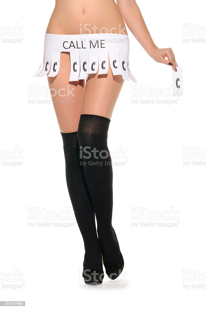 Declaration instead of skirt with words call me stock photo