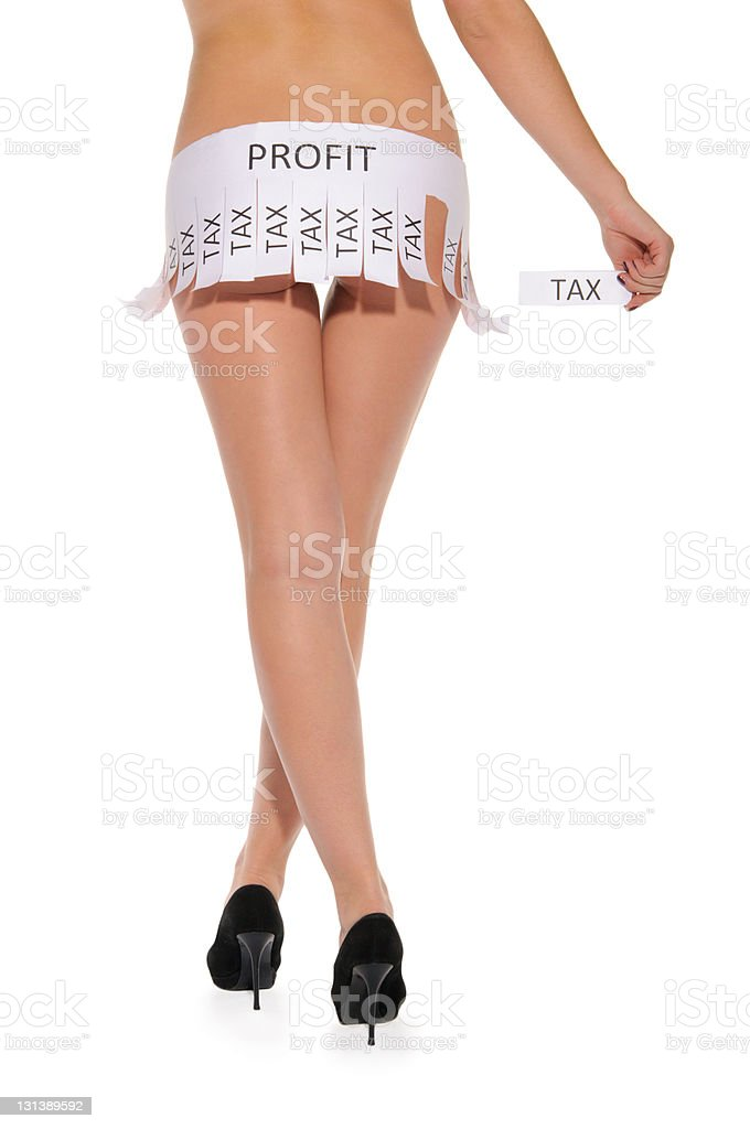 Declaration instead of skirt with words profit and tax stock photo