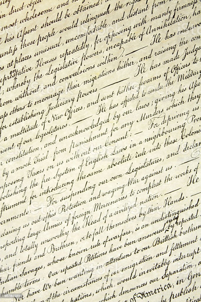 Declaration of Independence Background Texture stock photo