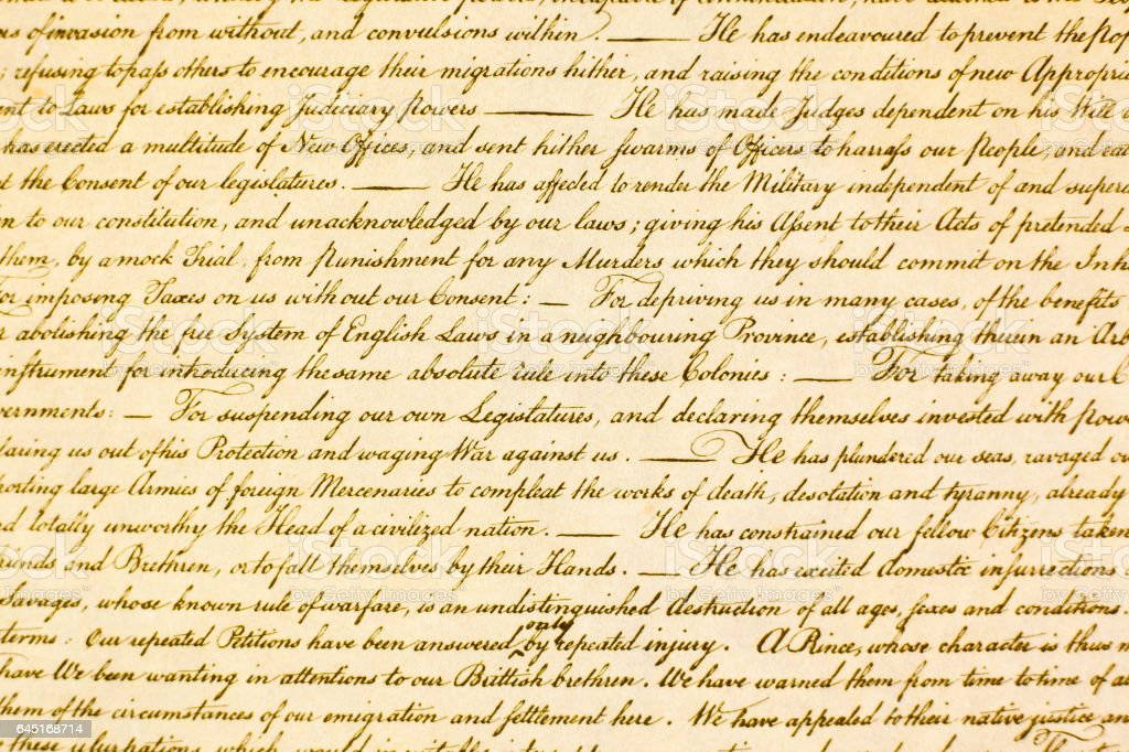USA Declaration of Independence in antique script. stock photo