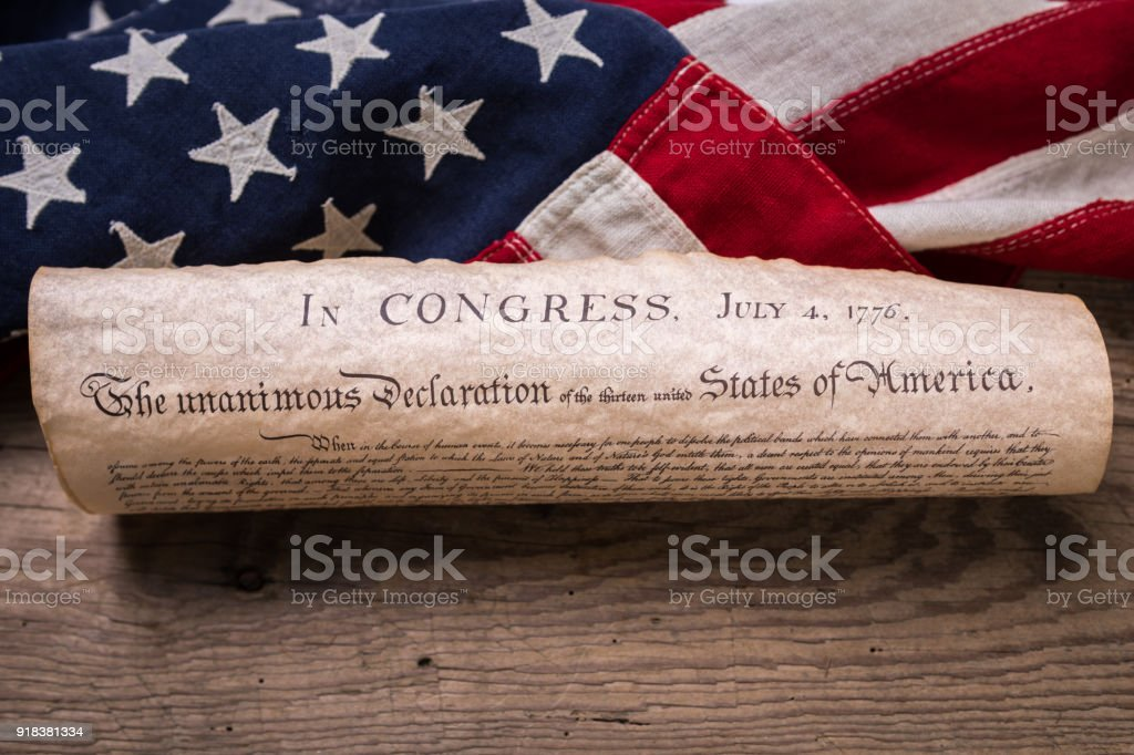 Declaration of Independence on Flag stock photo
