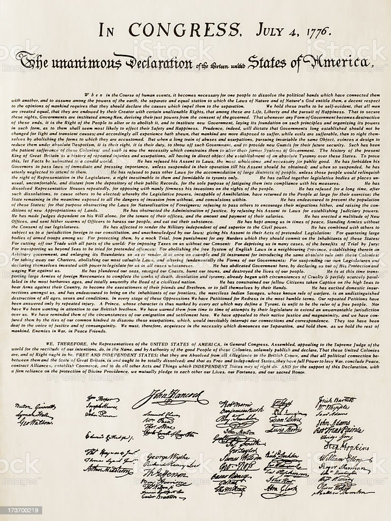 US Declaration of Independence stock photo