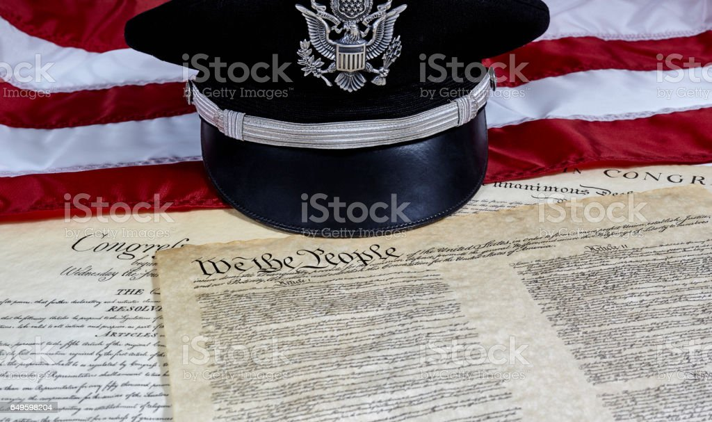 Declaration of Independence with Officer's Hat and American Flag stock photo