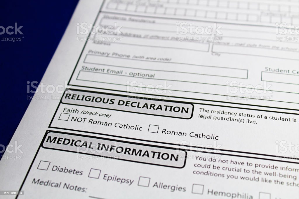 Declaring faith to attend a catholic school in order to receive funding stock photo