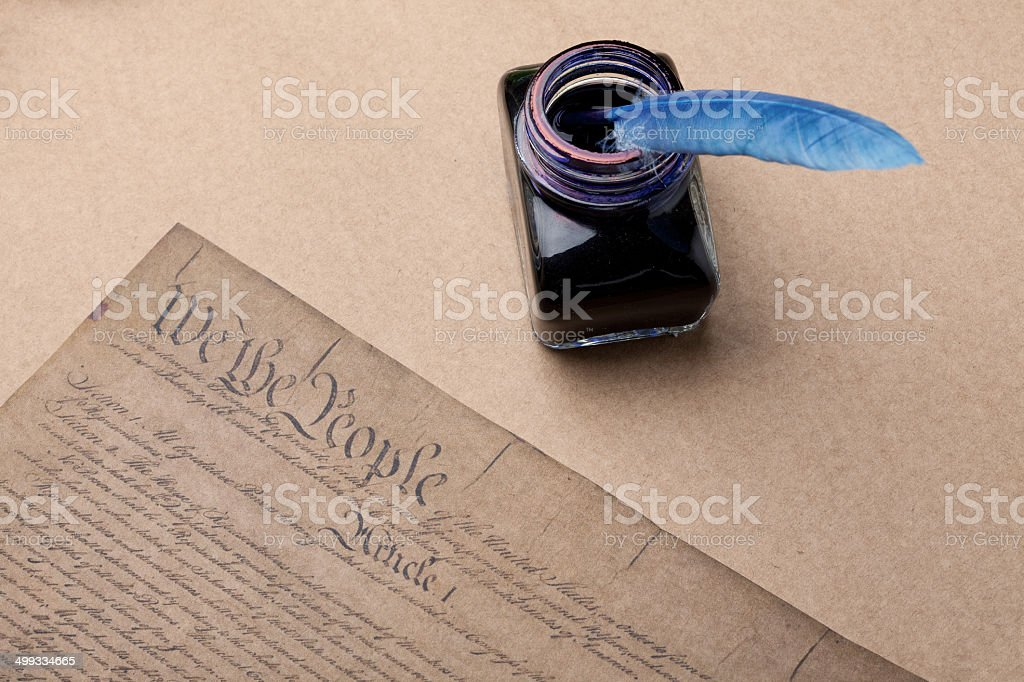 Decleration of independence document, ink  and feather quill pen royalty-free stock photo