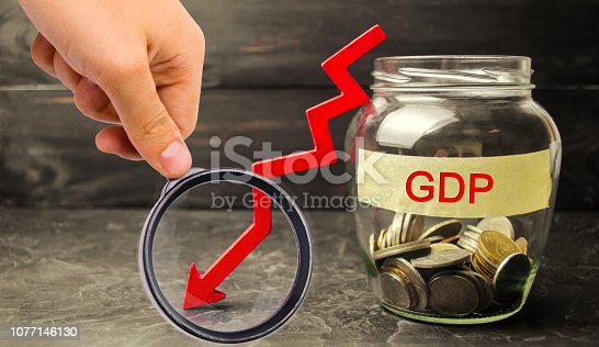 istock Decline and decrease of GDP - failure and breakdown of economy and finances leading to financial crisis and trouble. Drop in gross domestic product 1077146130