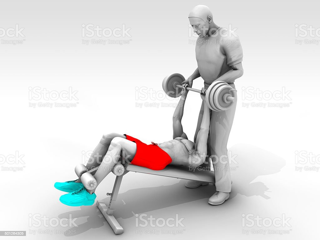 Decline Bench Press Exercise and Trainer stock photo