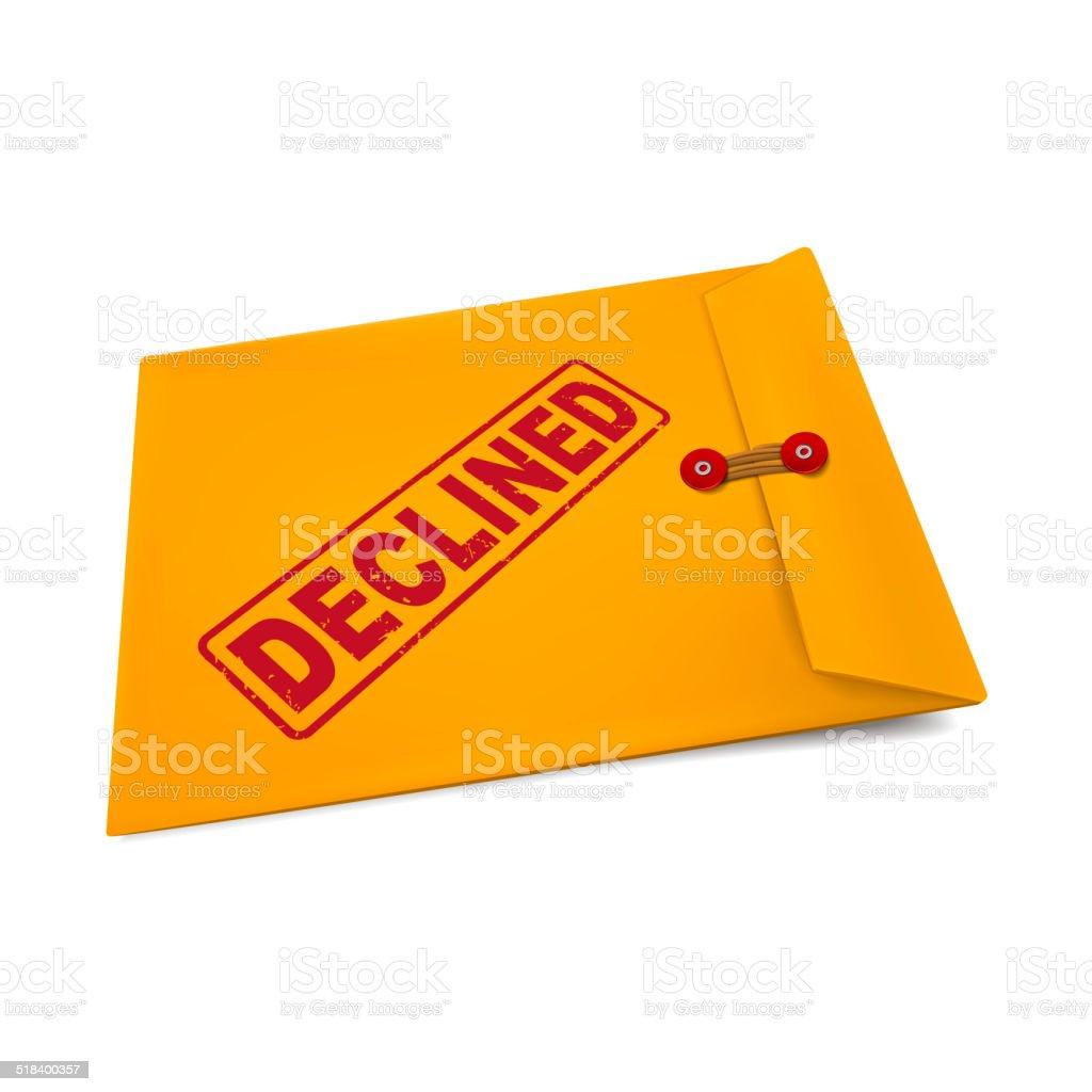 declined stamp on manila envelope stock photo