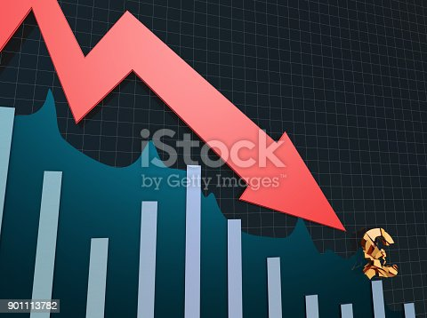 istock Declining arrow with bar chart, decline of economy, financial collapse, financial crisis 901113782