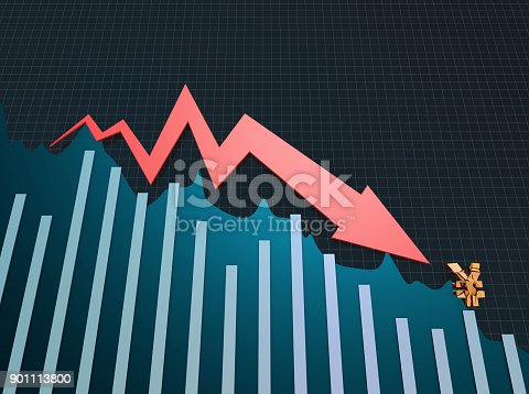 istock Declining arrow with bar chart, decline of economy, financial collapse, financial crisis 901113800