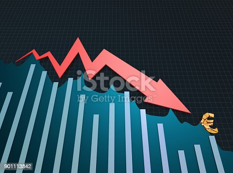 istock Declining arrow with bar chart, decline of economy, financial collapse, financial crisis 901113842