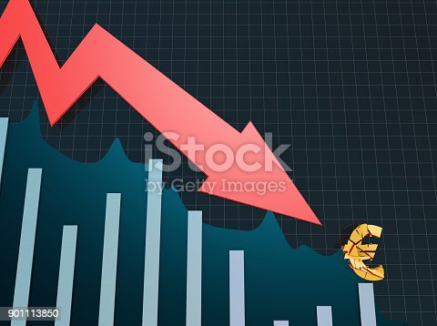 istock Declining arrow with bar chart, decline of economy, financial collapse, financial crisis 901113850