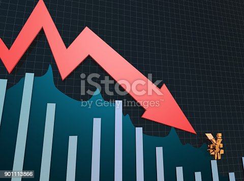 istock Declining arrow with bar chart, decline of economy, financial collapse, financial crisis 901113866