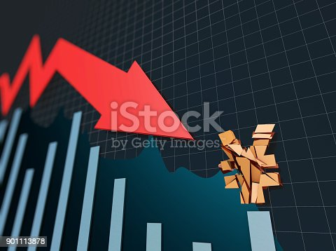 istock Declining arrow with bar chart, decline of economy, financial collapse, financial crisis 901113878