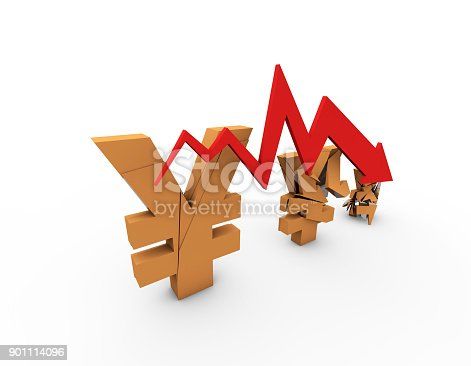 istock Declining arrow with bar chart, decline of economy, financial collapse, financial crisis 901114096