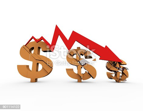istock Declining arrow with bar chart, decline of economy, financial collapse, financial crisis 901114122