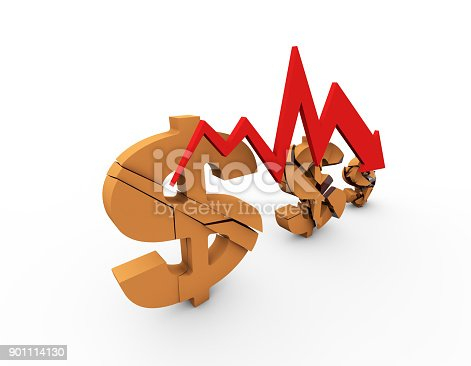 istock Declining arrow with bar chart, decline of economy, financial collapse, financial crisis 901114130