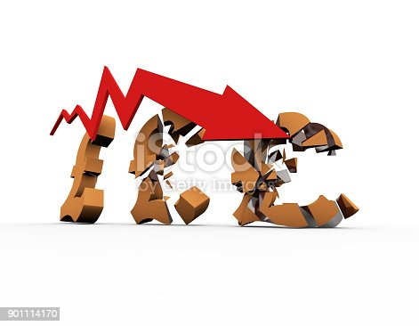 istock Declining arrow with bar chart, decline of economy, financial collapse, financial crisis 901114170
