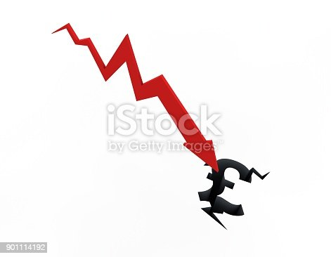 istock Declining arrow with bar chart, decline of economy, financial collapse, financial crisis 901114192