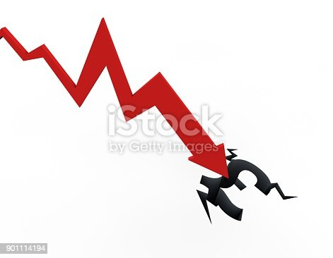 istock Declining arrow with bar chart, decline of economy, financial collapse, financial crisis 901114194