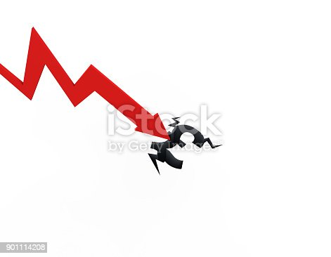 istock Declining arrow with bar chart, decline of economy, financial collapse, financial crisis 901114208