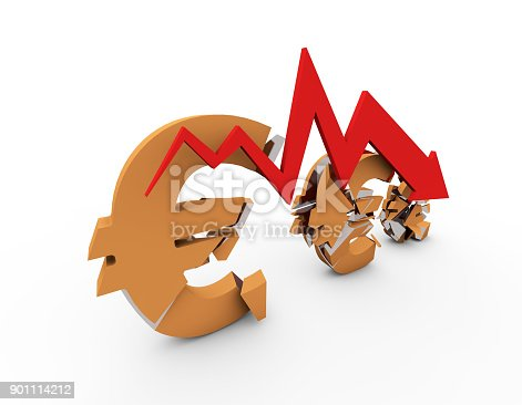 istock Declining arrow with bar chart, decline of economy, financial collapse, financial crisis 901114212