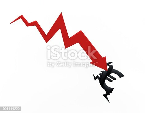 istock Declining arrow with bar chart, decline of economy, financial collapse, financial crisis 901114222