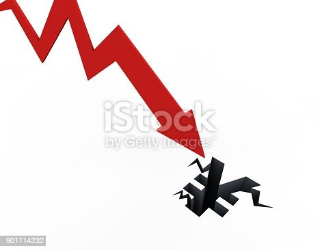 istock Declining arrow with bar chart, decline of economy, financial collapse, financial crisis 901114232