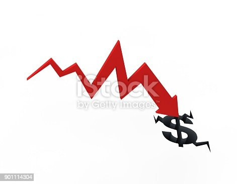 istock Declining arrow with bar chart, decline of economy, financial collapse, financial crisis 901114304