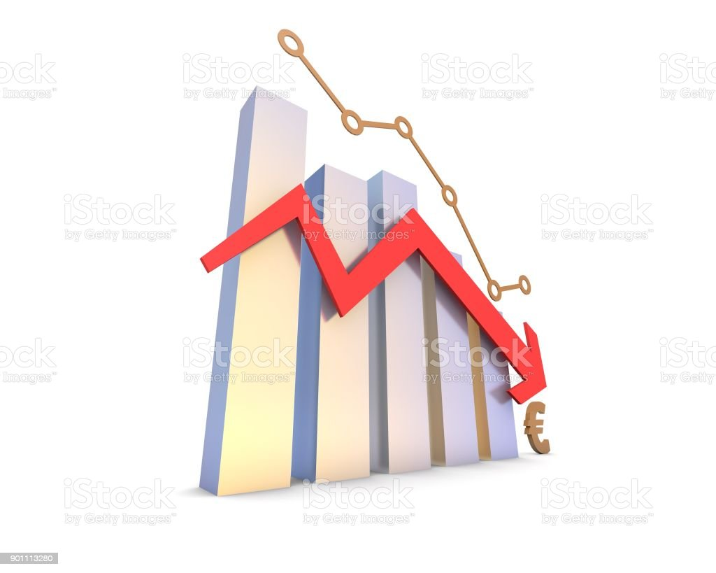 Declining arrow with histogram, decline of economy, financial bankruptcy stock photo