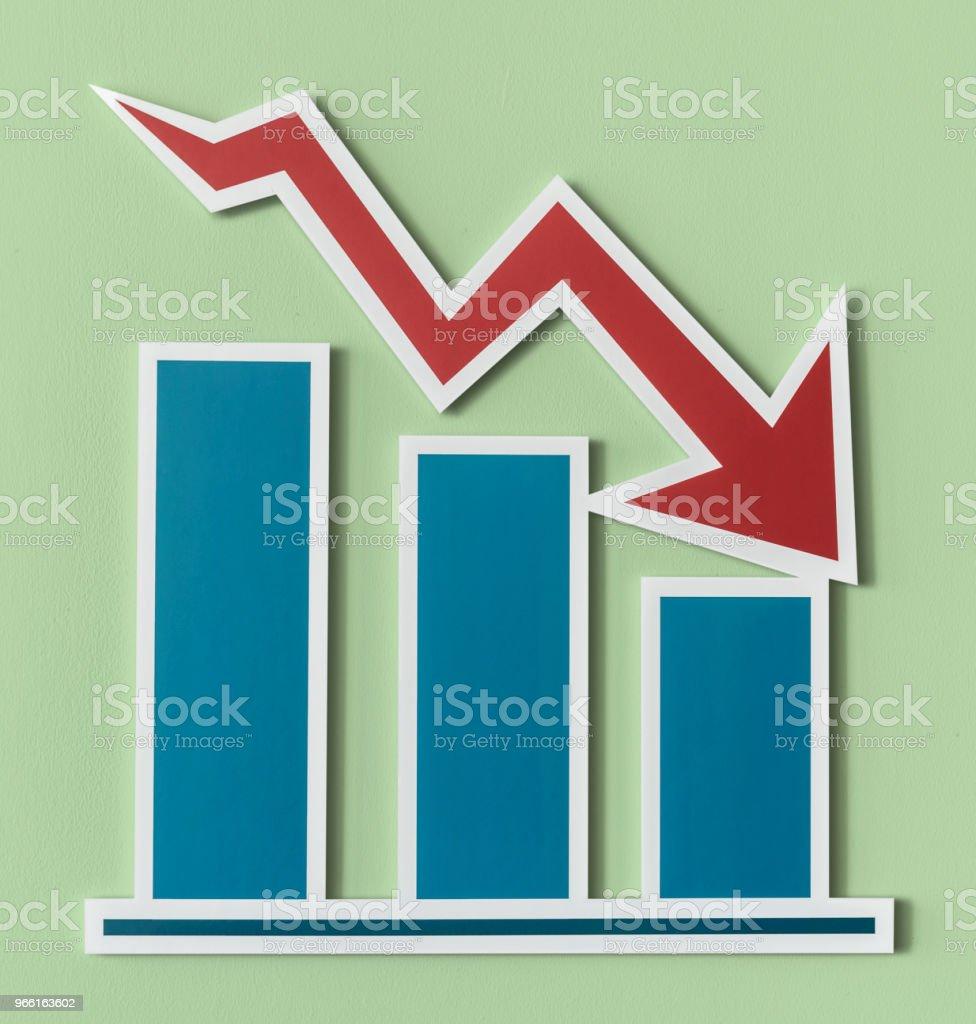 Minskande business rapport stapeldiagram - Royaltyfri Affärsplan Bildbanksbilder