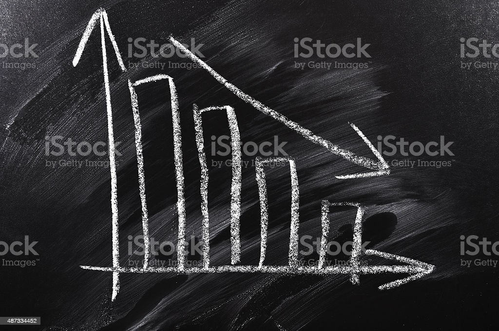 Declining chart stock photo