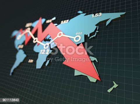 istock Declining economy, financial bankruptcy, sluggish stock market with world map 901113840