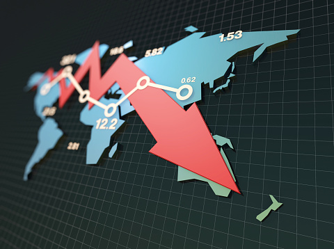 istock Declining economy, financial bankruptcy, sluggish stock market with world map 901113840