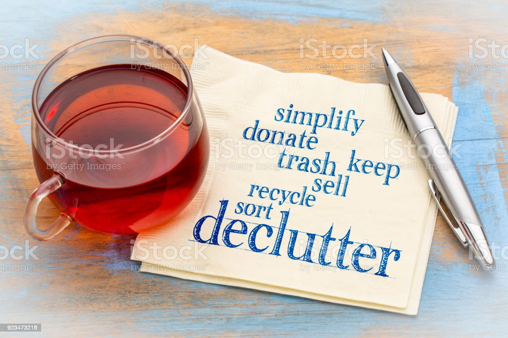 declutter and simplify word cloud on napkin stock photo