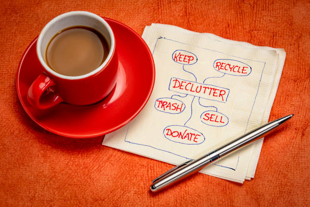 declutter concept on napkin stock photo