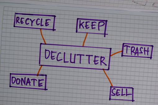 Declutter write on a book with keywords isolated wooden table.