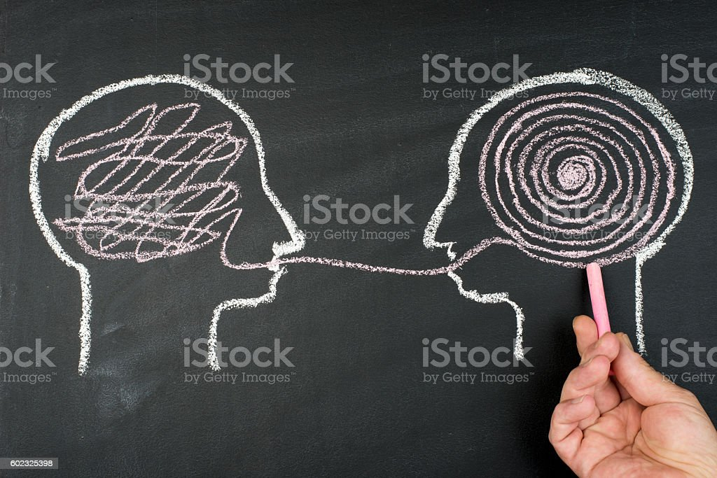 Decoding and understanding problem, face to face explanation concept - Foto stock royalty-free di Accessibilità