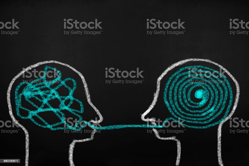 Decoding and understanding problem, face to face explanation concept stock photo