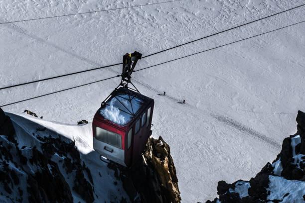 Decommisioned funiculaire suspendu à câbles sur les skieurs qui traversent le glacier ci-dessous sur les sentiers battus. - Photo