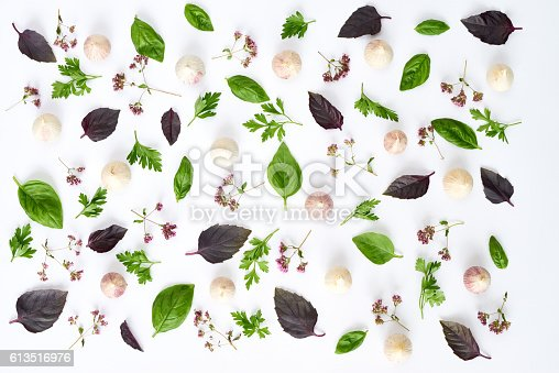Beautiful background of herbs and garlic