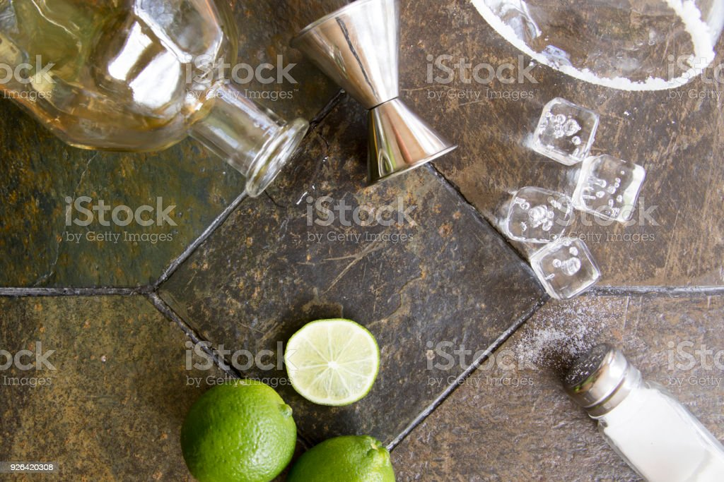 Deconstructed margarita on granite stock photo