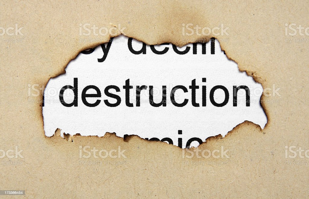 Deconstruction text on paper hole royalty-free stock photo