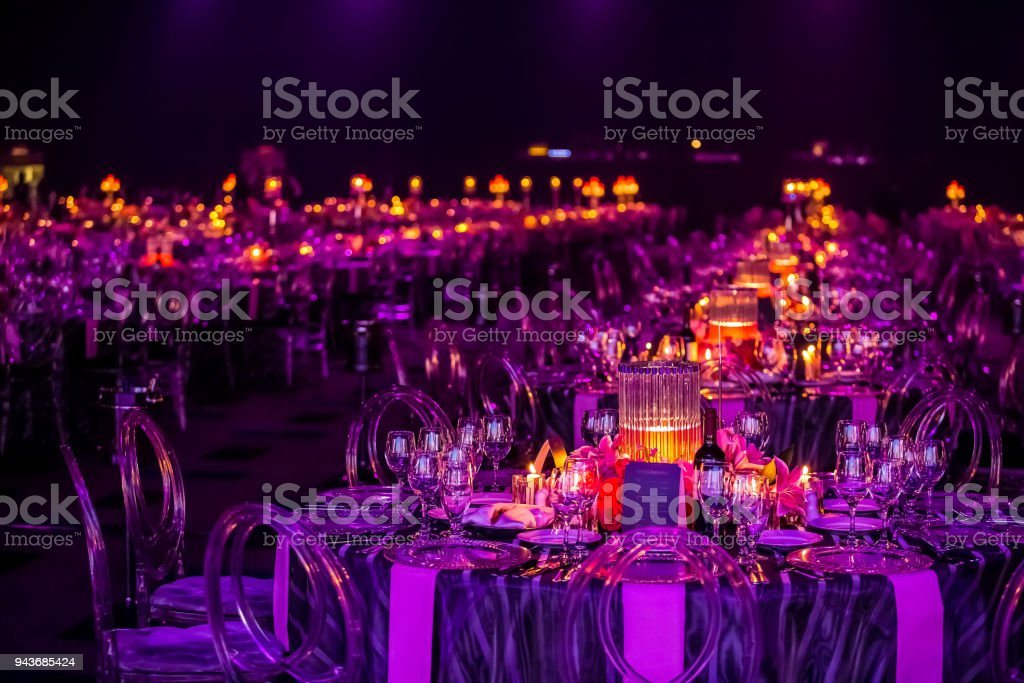 Decor for a large party or gala dinner stock photo