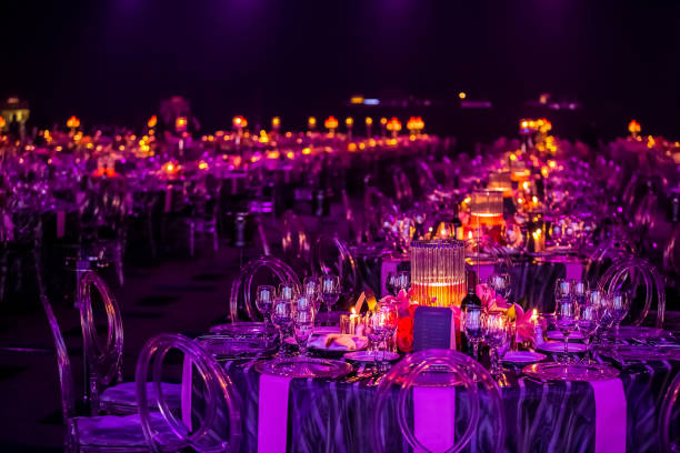 decor for a large party or gala dinner - event stock pictures, royalty-free photos & images