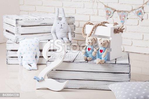 istock Decor in the style of sea travel. Sea thematic photo session decoration of a daylight studio. 843994228