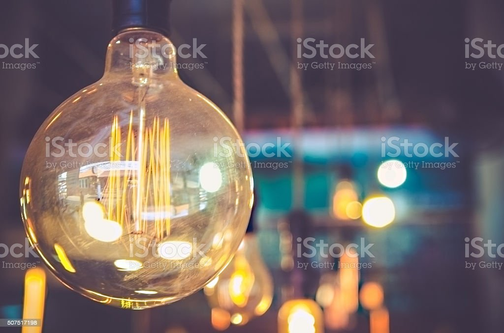 decor light bulb in coffee cafe stock photo